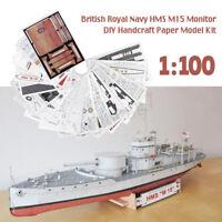 British Royal Navy HMS M15 M15-class monitor DIY Handcraft Paper Model Kit 1:100
