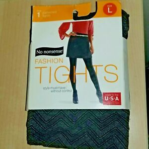 No Nonsense BLACK Chevron ZigZag Patterned Fashion Tights~New in pkg. Size L