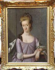 Fine Huge 18th Century Portrait of a Lady Purple Dress Antique Oil Painting