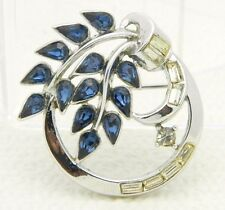 VTG RARE 50's CROWN TRIFARI Patent Pending Blue Rhinestone Flower Pin Brooch