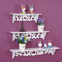 3Pcs White Floating Wall Mounted Shelf Shelves Hanging Storage Display Rack Unit