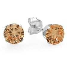 925 Sterling Silver Stud Earrings 6 mm 2.8 carat Cubic Zirconia Champagne Color