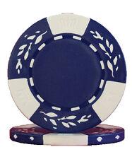 100pcs 10.5g Wheat No Metal Insert Poker Chips Blue