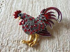 Crystal cock animal brooch pin - red