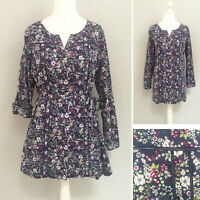 Laura Ashley Tunic Top 18 Blue Floral Cotton 3/4 ROLL UP Sleeve Belt NEW NWT £55