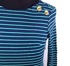 Sail to Sable Navy Blue & Green Striped Long Sleeve Knit Shift Dress Size XS