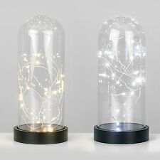 Modern Battery Operated LED Glass Cloche Bedside Table Lamp Fairy String Lights
