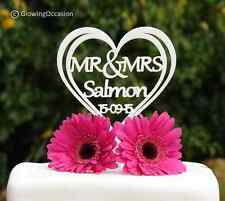 Personalised MR & MRS Heart Wedding Cake Topper: Surname Up To 9 letters (White)