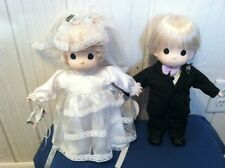 "Precious Moments 12"" Wedding Set -  Blond Bride & Groom Dolls w/tags 1997"