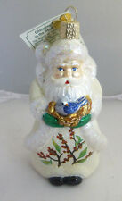 "Old World Christmas ""Glistening Bird in the Hand Santa"" Blown Glass Ornament NWT"
