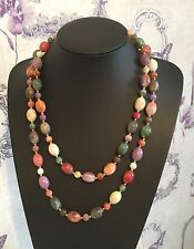 """New Vintage Long Marbled Lucite Bead Necklace Multi Coloured 46"""" Pinks Purples"""