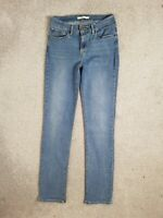 Levis 714 Straight Leg Blue Mid Rise Stretch Jeans Size 12 W30 L34 Long
