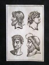 Nume, Nerone, Nerva  Incisione all'acquaforte del 1820 Mitologia Pozzoli