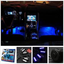 4 x 3 LED 12V DC Car Interior Atmosphere Blue Light Decor Lamp Accessories New