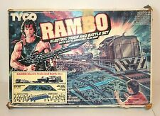 """Vintage """"RAMBO"""" ELECTRIC TRAIN and BATTLE SET, Tyco 1986, Mostly Complete"""