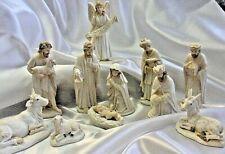 Original Marx Circa 1950s Nativity Set of 14 Figures Antique Cream Finish