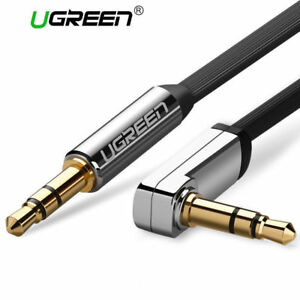 Ugreen 3.5mm Flat 90 Degree Right Angle Stereo Cable. Black White Red 0.5m - 3m