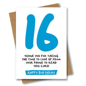 Funny 16th Birthday Card for Son Brother Grandson Boy Nephew Him - 16 Years Old