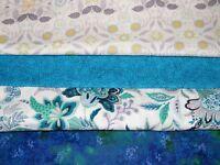 4 FQ Bundle – Blue, Green & White Prints 100% Cotton Quilt Fabric Fat Quarters