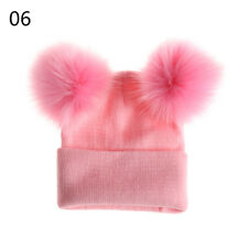 1pc Fashion Womens Girls Warm Knitted Beanies Cap Double Fur Ball Hat Winter 06
