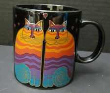 Laurel Burch Coffee Cup Rainbow Cats Black with Colorful Cats 14 oz. Japan