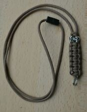 Paracord Skull Beads Neck Lanyard/ Keyring for ID, Keys, Tools (Coyote Brown)