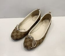 Women's Gucci Loafers Ballet Shoes GG Monogram Canvas Sz 39
