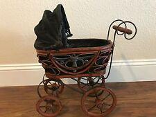 Antique Wood Doll Buggy Stroller Carriage Old Vintage Decor rich brown/black