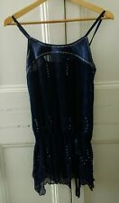 Pretty navy blue sparkly party evening top, UK size 6, Eur 34