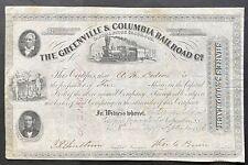 GREENVILLE & COLUMBIA RAIL ROAD Stock 1856. Columbia, South Carolina 'Upcountry'