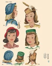 "Vintage années 1940 sewing pattern girls 'pilulier groom chapeaux millinery head 21"" WW2"