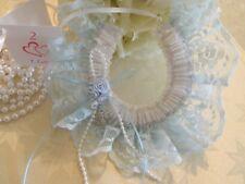 WEDDING BRIDAL HORSESHOE -LIGHT BLUE LACE & WHITE  -RIBBON FLOWERS -BRIDAL CHARM