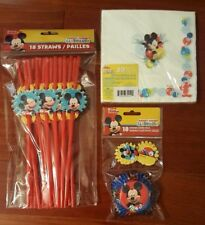 Disney Mickey Mouse Club Party Supplies for 18 Straws Cupcake Cups Napkins