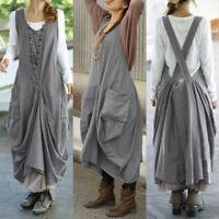 ZANZEA Femme Oversize Sans Manche Asymétrique Casuel Ample Confortable Jupe Robe