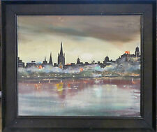 Urban Night Cityscape Across River, Oil on Board c.1960s, Framed, Unsigned