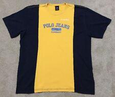Vintage 90's Ralph Lauren POLO Jeans Mens XXL 2XL ColorBlock T-Shirt BLUE YELLOW