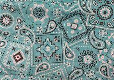 "Aqua Bandana Fabric -100% Cotton Fabric - Waverly - 1 yard 36"" x 44"""
