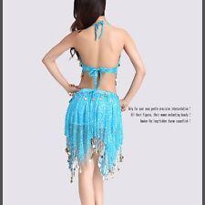 NEW Belly Dance Costume 2 pcs set Bra Top + Hip Skirt Sequins Dance School