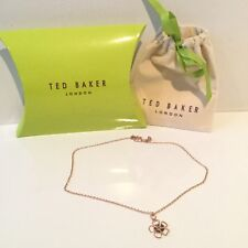 Boxed Ted Baker Flower Necklace Xmas Party Rose Gold Tone