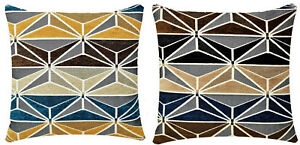 Chenille Abstract Check Print 17x17 inch Plush Cushion Cover for Sofa Bed Couch