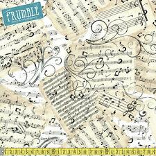 Timeless Treasures Fabric natural hojas de música por Metro Músico Notas Musicales
