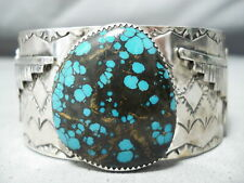 MONSTROUS AUTHENTIC NAVAJO SPIDERWBE TURQUOISE STERLING SILVER BRACELET