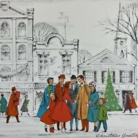 Vintage Mid Century Christmas Greeting Card Busy City Scene Villagers  NORCROSS