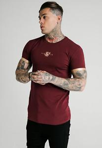 Sik Silk Mens T-Shirt Burgundy/Gold Inset Cuff Gym Tee Crew Neck Cotton T Shirt
