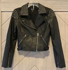Topshop Womens Black Studded Faux Leather Motorcycle Biker Jacket Size 4