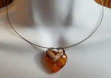 Genuine Baltic Amber 925 Sterling Silver Thin Collar Heart Necklace (1'' Stone)