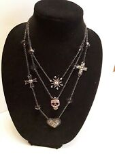 Betsy Johnson Triple Oxidized Chain Necklace With Rhinestone Skull Heart & Cross