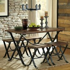 Rustic 5 Pc Dining Set Wood Metal Dinette Table Stools Industrial Kitchen Brown