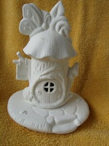 UNPAINTED CERAMIC BISQUE- BUTTERFLY HOUSE/BASE ORNAMENT/TEALIGHT