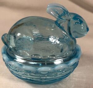 Bunny Rabbit on Basket Covered Dish - Mosser USA - Blue Opalescent Glass